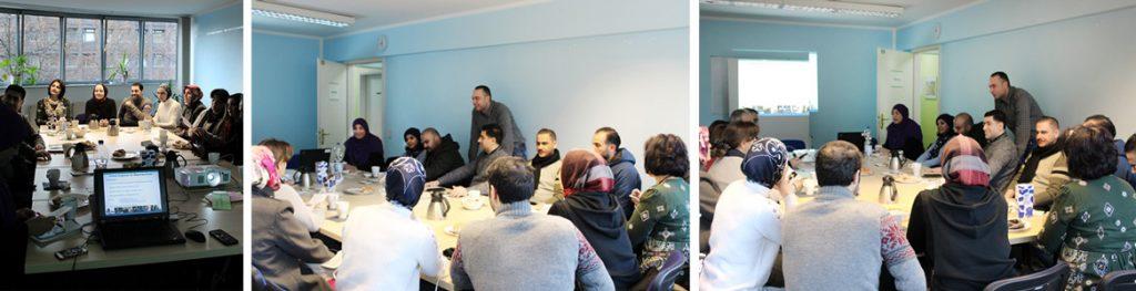 Alle an einem Tisch: Die Inhalte unseres B2-Kurses wurden vorgestellt und mit großem Interesse aufgenommen